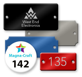 Engraved, Full Color Printed,  or Blank Anodized Aluminum Metal Tags in Many Shapes and Sizes