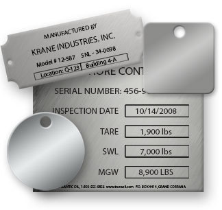 Laser Engraved Stainless Steel Tags, Labels and ID Plates in 304 or 316 Grade Steel in Many Shapes and Sizes - NapTags.com